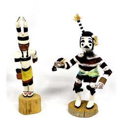 2 Native American Hopi Koshare Clown Kachinas