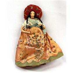 Vintage Mexican Senorita Cloth Doll on Stand