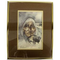 Signed Print ''Buffalo Medicine'' by Bert Seabourn