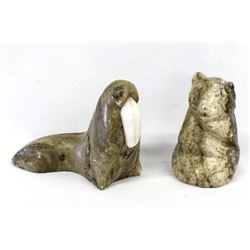 2 Carved Soapstone Animals