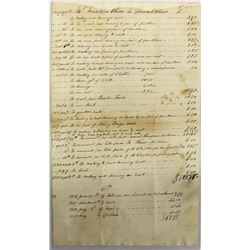 Antique Itemized Expense Account Ledger Sheet