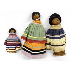 3 Native American Seminole Folk Art Dolls