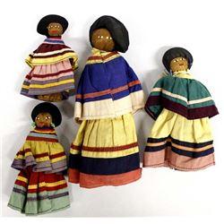 4 Native American Seminole Folk Art Dolls