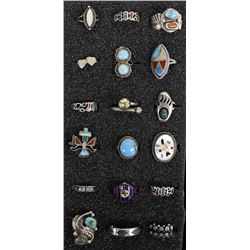 18 Navajo & Zuni Sterling Silver Rings