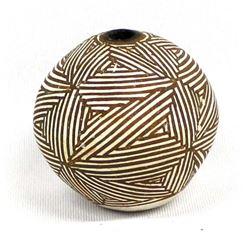 Acoma Miniature Fine Line Pottery Seed Jar by Leno