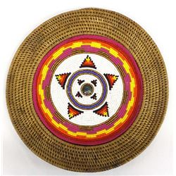 Hand Beaded Basket Tray by Kathy Kills Thunder