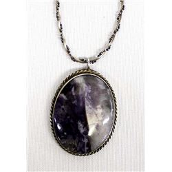 Silver and Dog Tooth Amethyst Pendant Necklace