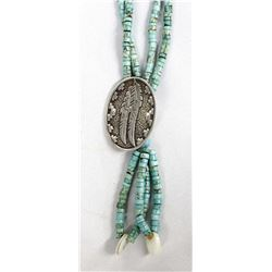 Hand Beaded Turquoise Necklace by Kills Thunder