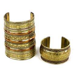 2 East India Brass and Copper Cuff Bracelets
