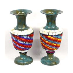 Pair of Hand Beaded Metal Vases by Kills Thunder