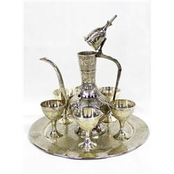 Turkish Silvertone Zam Zam Drinking Serving Set