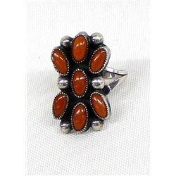 Vintage Native American Navajo Silver Coral Ring
