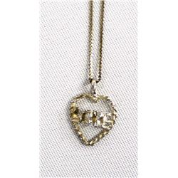 Sterling Silver Diamond Cut Heart Pendant Necklace
