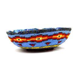 Hand Beaded Copper Bowl by Kathy Kills Thunder