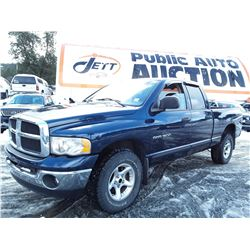 """A5 --  2004 DODGE/RAM 1500 , Blue , 276729  KM's  """"No Reserve - Selling to the Highest Bidder"""""""