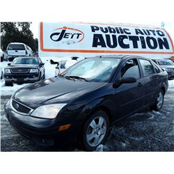 """A12A --  2007 FORD FOCUS ZX4 , Black , 159459  KM's   """"No Reserve - Selling to the Highest Bidder"""""""