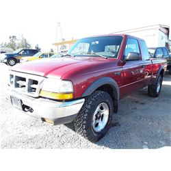 F4 --  1999 FORD RANGER EXT CAB 4x4, Red , 295634  KM's