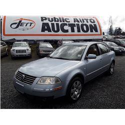 "A11 --  2001  VW PASSAT GLX , Blue , 249577  KM's ""No Reserve"