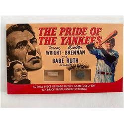 Babe Ruth Framed Piece of Game-Used Bat and Original Yankee Stadium