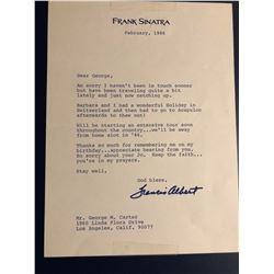 Frank Sinatra Signed 1986 Letter Written on his Letterhead