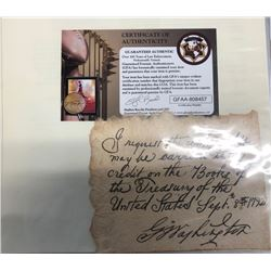George Washington Signed Personal Note