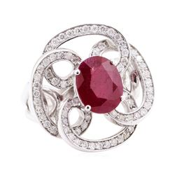 5.78 ctw Ruby And Diamond Ring - 14KT White Gold