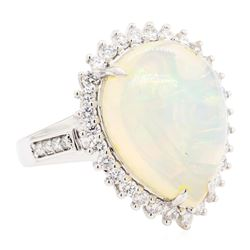 9.12 ctw Opal And Diamond Ring - 14KT White Gold