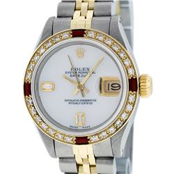 Rolex Ladies 2 Tone 14K MOP & Ruby Diamond Datejust Wriswatch
