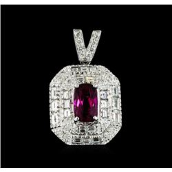 2.10 ctw Rubellite and Diamond Pendant - 18KT White Gold