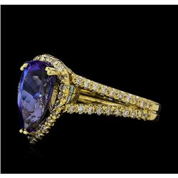 2.43 ctw Tanzanite and Diamond Ring - 14KT Yellow Gold