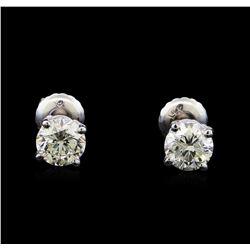 1.22 ctw Diamond Stud Earrings - 14KT White Gold
