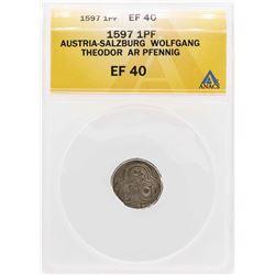 1597 Austria-Salzburg Wolfgang Theodor AR Pfenning Coin ANACS XF40
