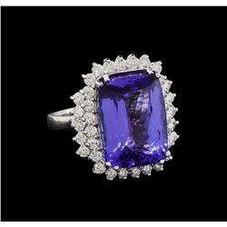 15.75 ctw Tanzanite and Diamond Ring - 14KT White Gold