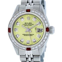 Rolex Ladies Stainless Steel Yellow Diamond & Ruby Datejust Wristwatch