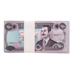 Lot of (50) Iraqi 250 Dinars Saddam Hussein Notes