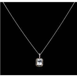 2.23 ctw Aquamarine and Diamond Pendant With Chain - 14KT White Gold