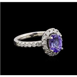 1.56 ctw Tanzanite and Diamond Ring - 14KT White Gold
