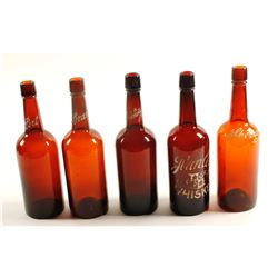 Back Bar /  Enameled / Turn Mold - Whiskey Fifths / 5 items  (61458)