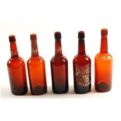 Back Bar /  Enameled / Turn Mold - Whiskey Fifths / 5 items  (61458)