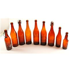 Beer Bottles  / 9 items / Various Brands.  (61454)
