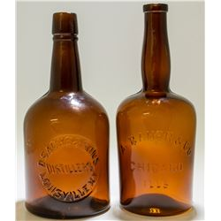 Bitters N Squat Whiskey Bottles ( 2 Items).  (48524)