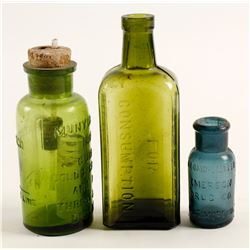 Colored Medicine Bottles  / 3 pieces  (78812)