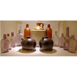 Whiskey Jug , Flasks ,  Bottles, & Soy Sauce Pots / 13 Items  (78842)