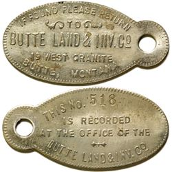 Butte Land & Inv. Co. Tag  (87325)