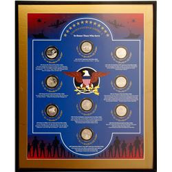 Framed Set of 9 Silver Coins Honoring US Military Veterans, Set #1/4  (77124)
