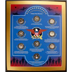 Framed Set of 9 Silver Coins Honoring US Military Veterans, Set #2/4  (77125)