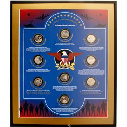 Framed Set of 9 Silver Coins Honoring US Military Veterans, Set #4/4  (77127)