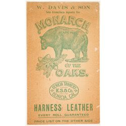 Monarch of the Oaks Harness Leather Pictorial Business Card  (88306)