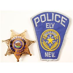 Ely, NV Police Badge and Patch  (88374)