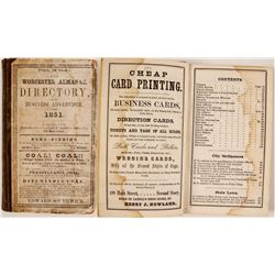The Worchester Almanac, Directory, and Business Advertiser for 1851  (82811)